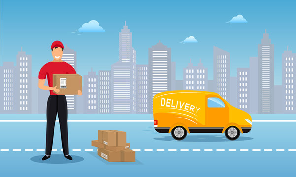 Flat vector design concept of cargo delivery service, courier man in red uniform holding parcel box and standing in front of a truck on city skyline background.