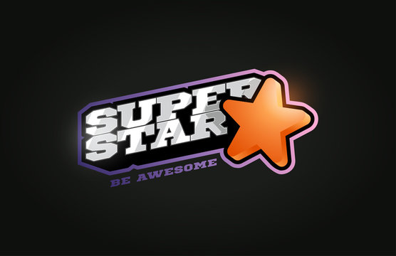 Superstar mascot Modern professional sport Typography in retro style. Vector design emblem, badge and sporty template logo design.