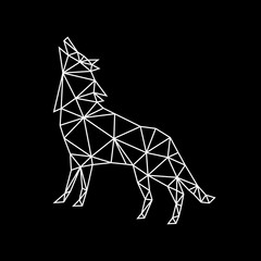 Fashion white geometric contour of a howling wolf on a dark background. Minimalism in the style of trigonometry.