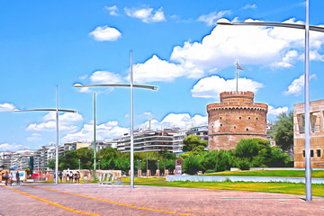 Drawing of the White Tower on the coast of Thessaloniki. Greece.
