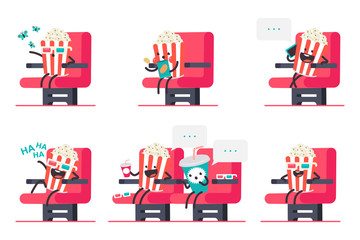 Cute popcorn and soda in cinema vector cartoon characters set isolated on a white background.