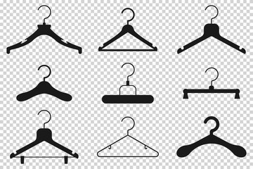 Clothes hanger black silhouette vector cartoon flat icon set isolated on transparent background.