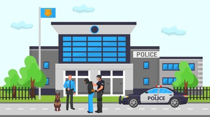 Police office station vector illustration. Two cops, dog and police car on road in front of department building. One policeman holds caught masked criminal man.