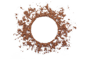 cocoa powder circle space on white background.