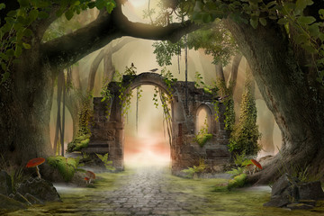 Archway in an enchanted fairy forest landscape, misty dark mood, can be used as background Fototapete