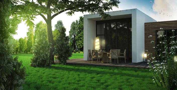 Modernes Haus mit Holz Terrasse im Grünen