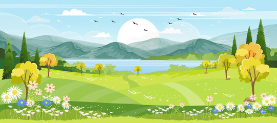 Panorama view of spring village with green meadow on hills with blue sky, Vector cartoon Spring or Summer landscape of countryside with mountains with wild flowers fields