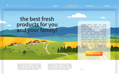 Vector landing page design template with beautiful flat countryside village farm landscape illustration. Special offer, discount banner concept. For dairy product, farming, market advertisement. Fototapete