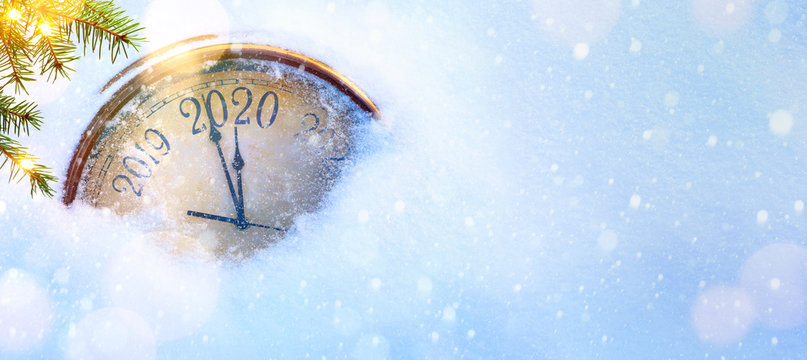 2020 Christmas and new years invitation banner background