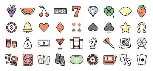 Casino and Gambling Icon Set