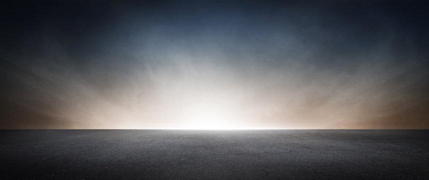 Dark Concrete Asphalt Street Floor Background with Beautiful Atmospheric Sky