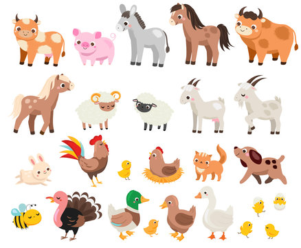 Cute farm. Big set of cartoon farm animals and pets for kids and children. Cow, horse, pig and many other