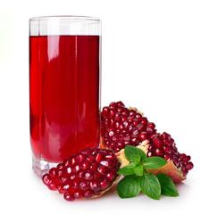 Fresh pomegranate with juice on white background