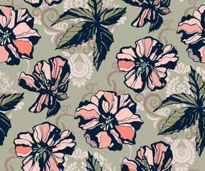 Seamless floral pattern with hibiscus and ornamental hand drawing decorative background. Ethnic seamless pattern ornament. Vector pattern. Print for textile, cloth, wallpaper, scrapbooking