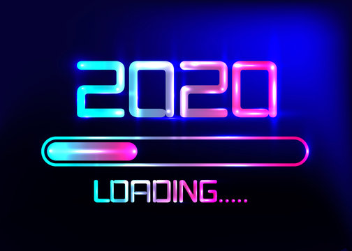 Happy new year 2020 with loading icon blue neon style. Progress bar almost reaching new year's eve. Vector illustration with 2020 loading. Isolated or dark light blue background