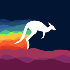 White kangaroo with with waves of rainbow color behind it. Kangaroo with colorfull background