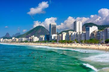 Fototapete - Copacabana beach in Rio de Janeiro, Brazil. Copacabana beach is the most famous beach in Rio de Janeiro. Sunny cityscape of Rio de Janeiro