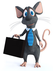 3D rendering of a cartoon mouse dressed as a businessperson.