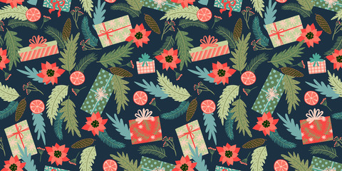 Christmas and Happy New Year seamless pattern. Vector design template.