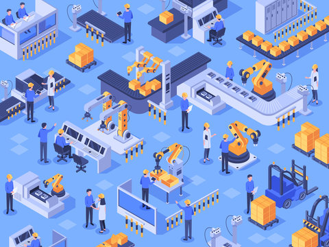 Isometric smart industrial factory. Automated production line, automation industry and factories engineer workers. Industriyal manufacturing teamwork innovation technology vector illustration
