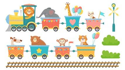 Cute animals on train. Happy animal in railroad car, little pets ride on toy locomotive. Elephant, giraffe and monkey in transportation train cartoon isolated vector illustration set