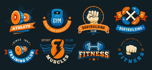 Vintage gym emblem. Athlete muscles, fitness and bodybuilding labels. Sport signs, athlete logo silhouette or fit bodybuilder retro badge. Colorful isolated vector symbols set