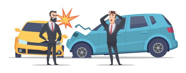 Papiers peints Cartoon voitures Car accident. Damaged autos angry scared men. Businessmen vector character and crashed cars. Automobile damage and crash on road accident illustration