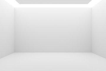 Empty white room with indirect lighting from the ceiling - gallery or modern interior template, 3D illustration