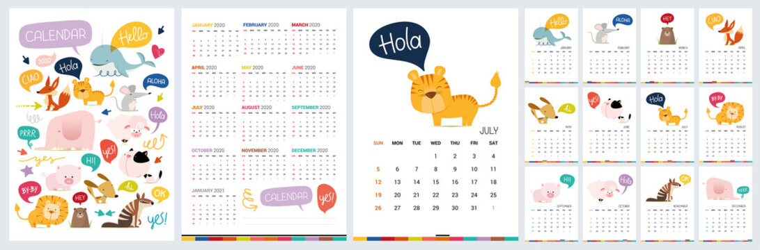 Funny calendar 2020 with wild cartoon animals. Vector hand drawn illustration