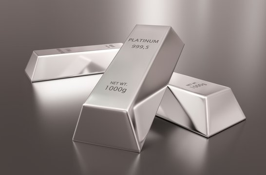 Three platinum ingots or bars stacked over reflective silver colored background - precious metal or money investment concept, 3D illustration