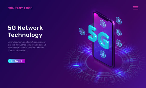 5G network technology, isometric concept vector illustration. Smartphone screen with 5G symbol wireless internet and interface icons isolated on ultraviolet background. High speed internet web page