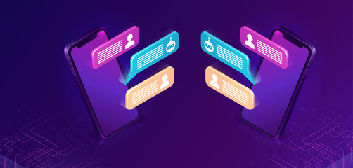 Chat bot or mobile chatting, isometric concept vector illustration. Dialog sms icons or text bubbles on screens of two smartphones facing each other, isolated on purple, ultraviolet background