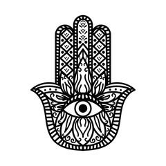Hamsa Fatima Hand Tradition Amulet Monochrome