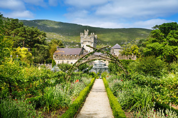 Glenveagh Castle, Donegal in Northern Ireland. Beautiful park and garden in Glenveagh National...