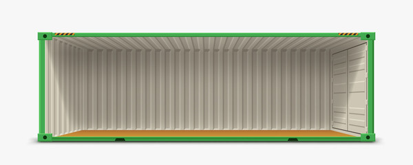 Obraz container without side wall on white - fototapety do salonu