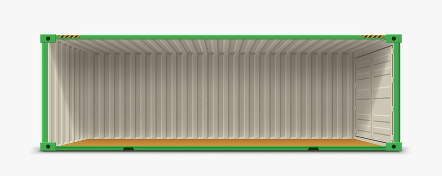 container without side wall on white