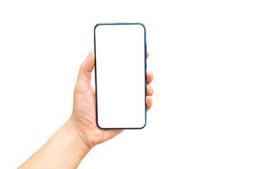 Mock up image of A hand holding a blank screen of smartphone on white background.