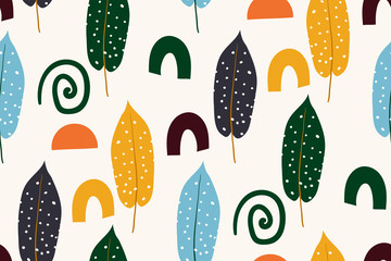 Abstract seamless pattern with autumn leaves. Hand drawn texture. Vector pattern. Vector illustration. Cute trendy design for fabric, wallpaper, wrap paper.