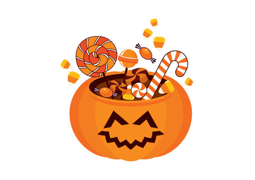 Cute halloween pumpkin with candy vector. Halloween pumpkin cartoon character. Pumpkin with smiling face. Halloween pumpkin isolated on a white background. Happy halloween pumpkin icon