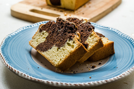 Marble Cake Slices in Plate. Ready to Eat.