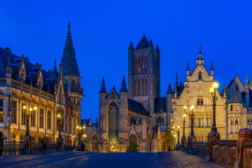 Wall Mural - Medieval city of Gent (Ghent) in Flanders with Saint Nicholas Church and Gent Town Hall, Belgium. Nigth cityscape of Gent.