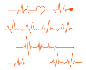 Pulse line vector. Medicine Modern flat Cardiogram Hearts Icons Vector. Smooth thick and thin lines, template set. Heart pulse. Red and white colors.