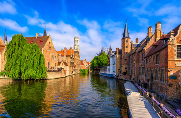 Foto op Aluminium Brugge Classic view of the historic city center of Bruges (Brugge), West Flanders province, Belgium. Cityscape of Bruges with canal.