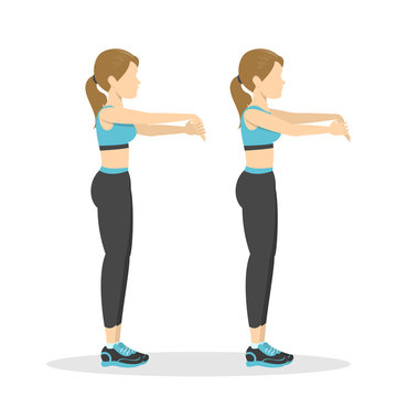 Arm stretch exercise. Stretch to relieve wrist pain
