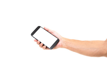 Man hand holding blank screen smartphone on white background. Clipping path