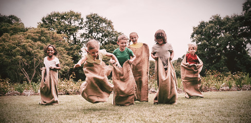 Children having sack race