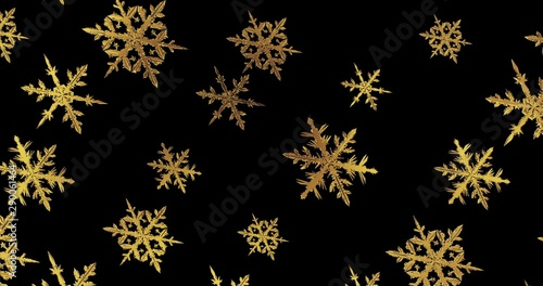 Golden snowflakes on black background. New year wallpaper