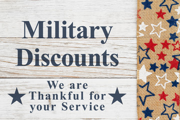 Military Discounts message with stars on a weathered whitewash wood
