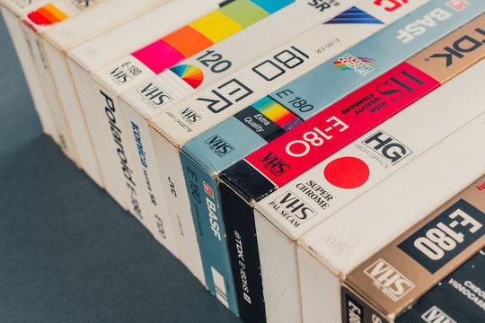 VHS video cassettes, retro video technology