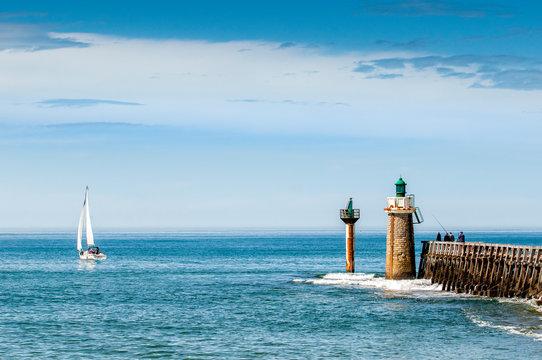 Capbreton, wooden jetty with lighthouse